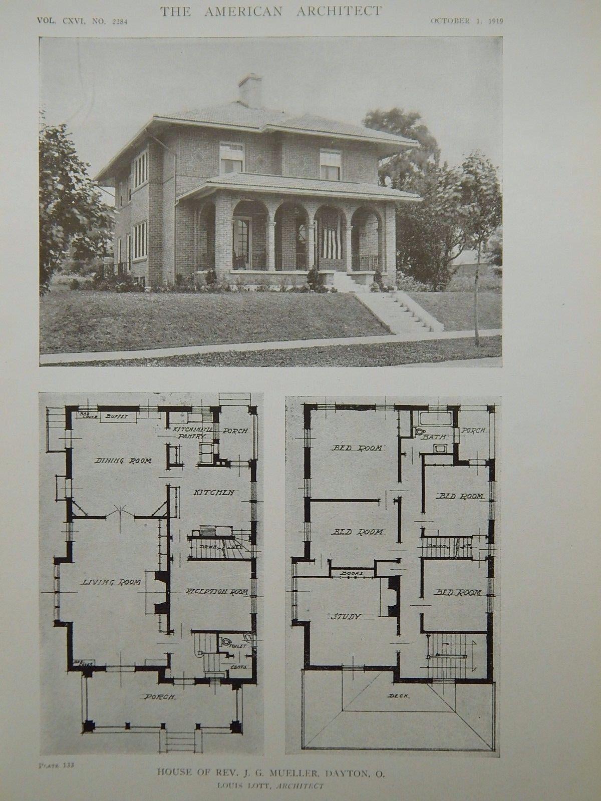 exterior house of rev j g mueller dayton oh 1919 lithograph louis lott - 1919 House Plans
