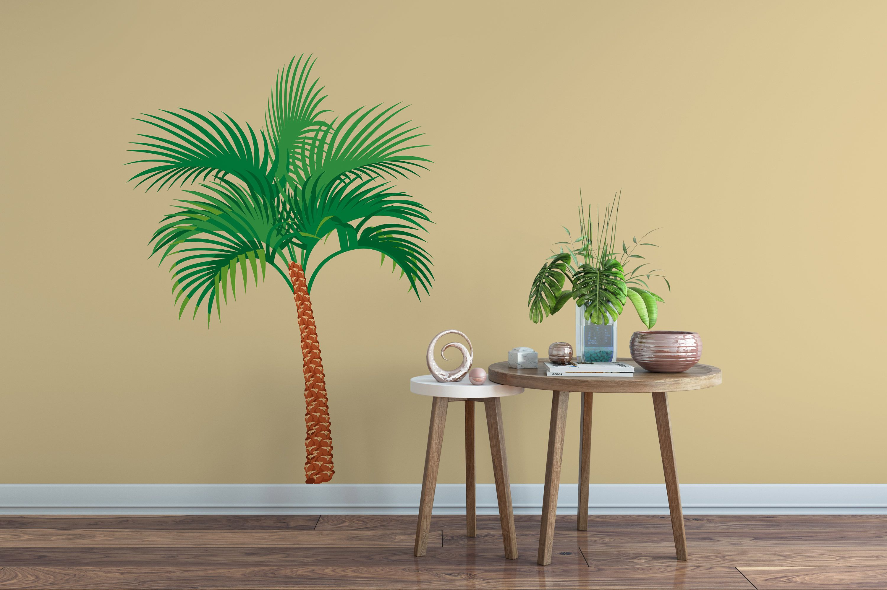 Colorful Palm Tree Wall Decal, Colorful Palm Tree Sticker, Living ...