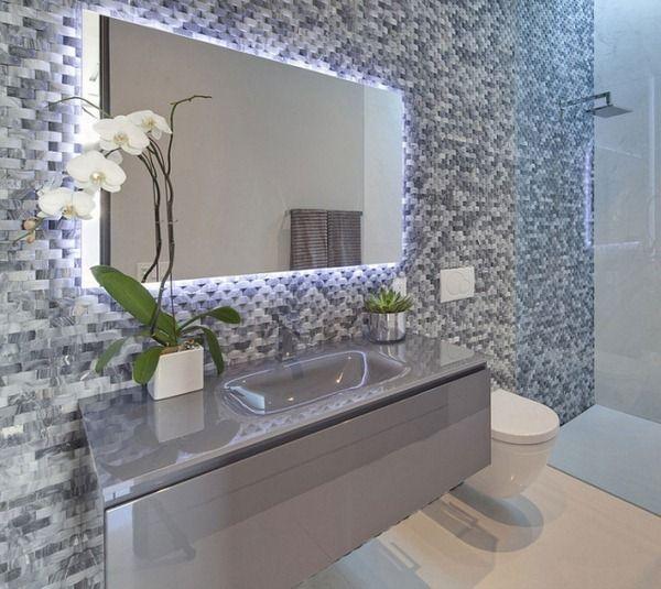 Monochrome Mosaic Tiles Bathroom Design Ideas Mirror Frame