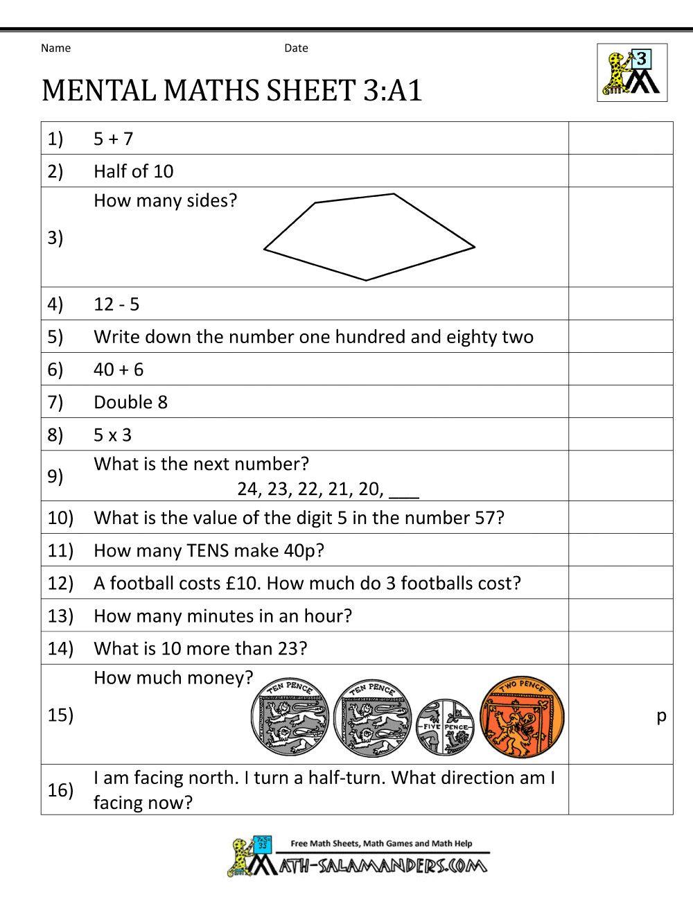 4 Year 3 Maths Worksheets In 2020 Mental Maths Worksheets Mental Math Free Math Worksheets
