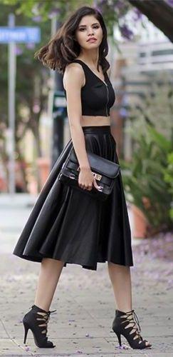 Black Faux Leather High Waist Calf Length Bell Flare A Line Pleat Midi Skirt