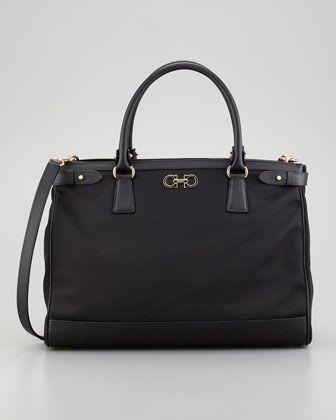 efd32cf5580 Batik Nylon Satchel Bag, Black by Salvatore Ferragamo at Neiman Marcus.   US1090