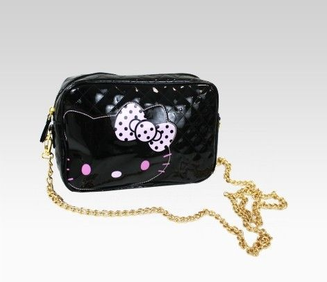 Hello Kitty Black Mini Shoulder Bag: Ribbon  Item #44126  NEW  $40.00