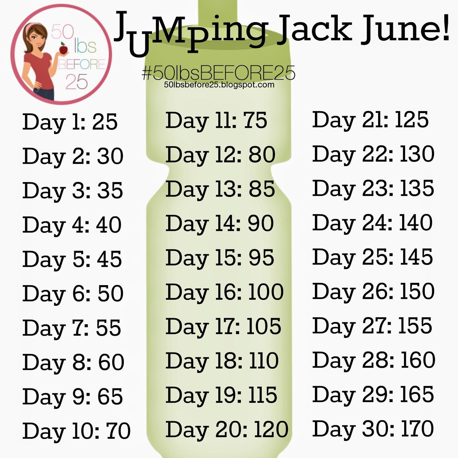 Jumping Jack June! | 50lbsbefore25 | Pinterest | Exercises ...