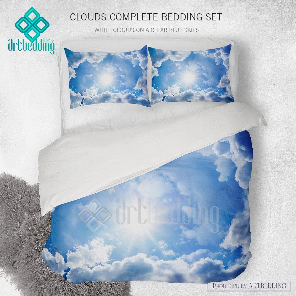 Clouds Bedding Blue Sky With White Clouds Bedding Set White