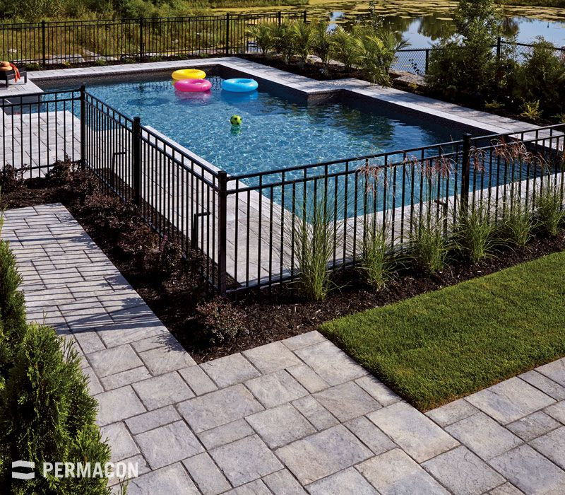 Maybe Add A Line Of Greenery Or Plants Between Fence And Pool To Allow Fence To Be Inground Pool Landscaping Backyard Pool Landscaping Pool Fencing Landscaping
