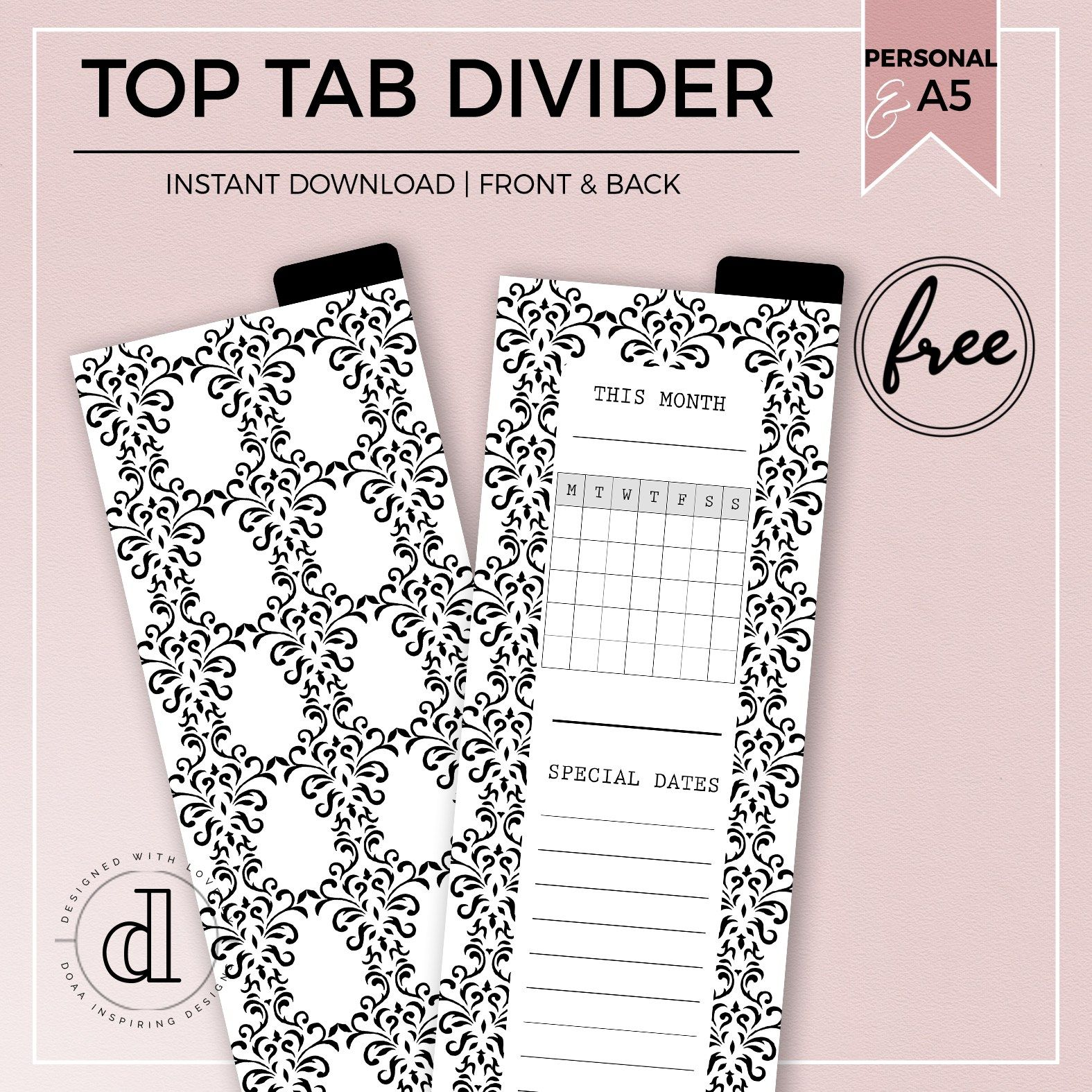 August Freebie : Printable Top Tab Dividers For Personal