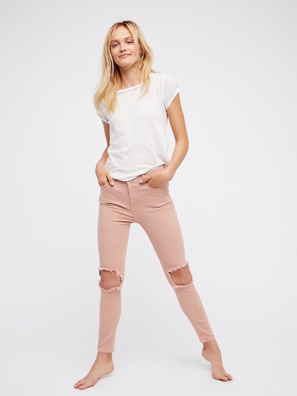 Skinny Pink jeans tumblr pictures recommend to wear for everyday in 2019