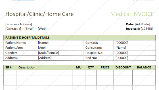 Dental Invoice Template Excel PDF Word doc – Medical Templates for Word