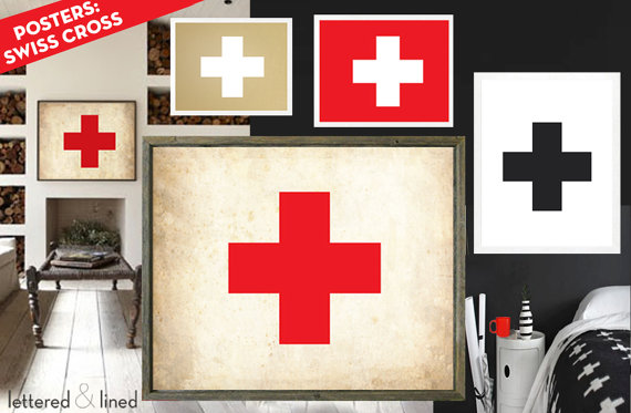 Swiss Cross Poster 9 Colors 6 Sizes Swiss Army Logo Red Cross Chic Modern Rustic Vintage Red Cross Flag Vintage Swiss Flag Swiss Flag Cross Flag Red Cross