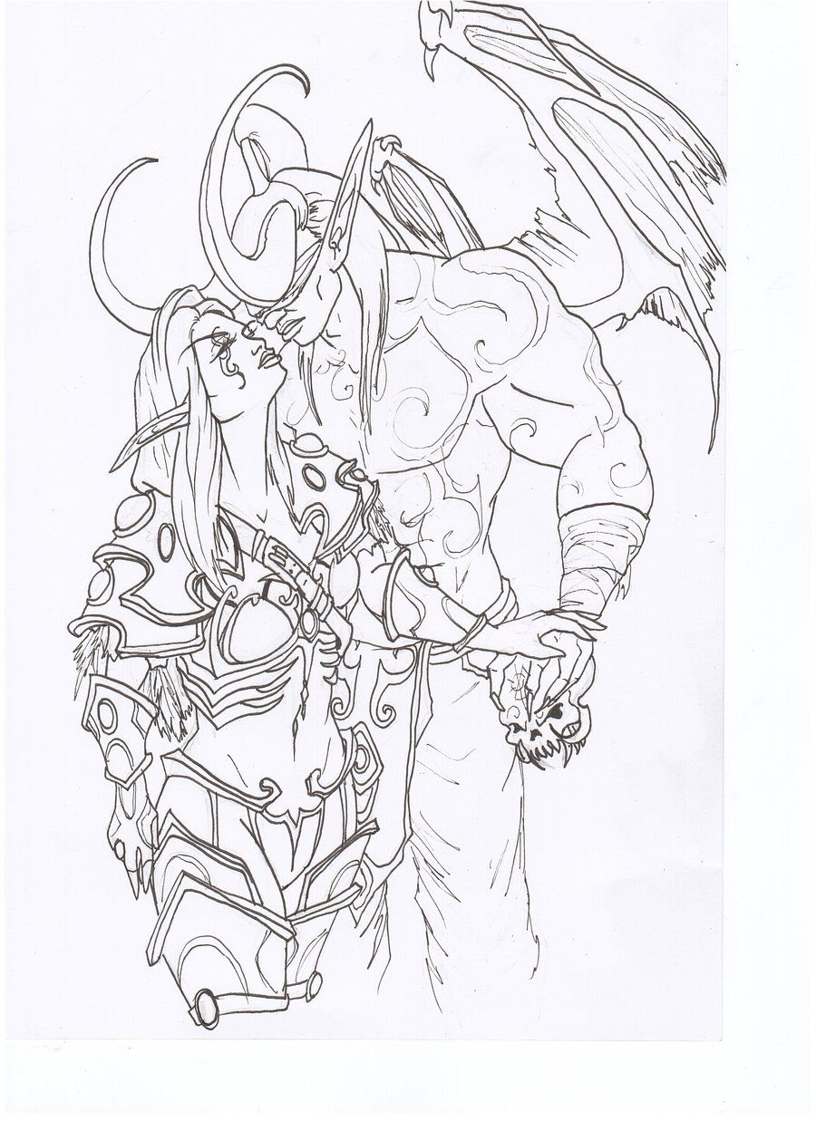 illidan heart sylvanas by venneccablind coloriages pinterest