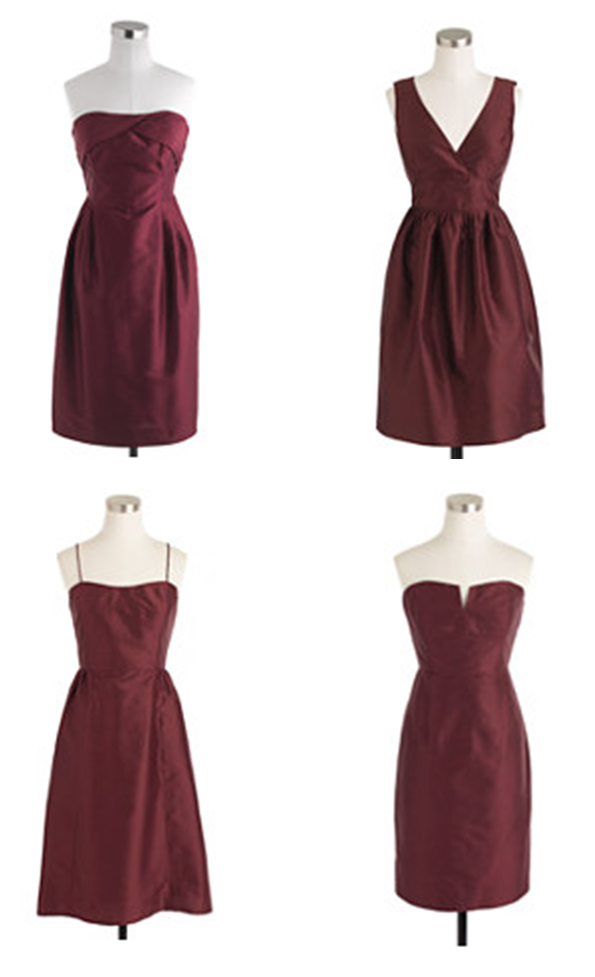 Deep garnet bridesmaid dresses from J.Crew | Burgundy ...