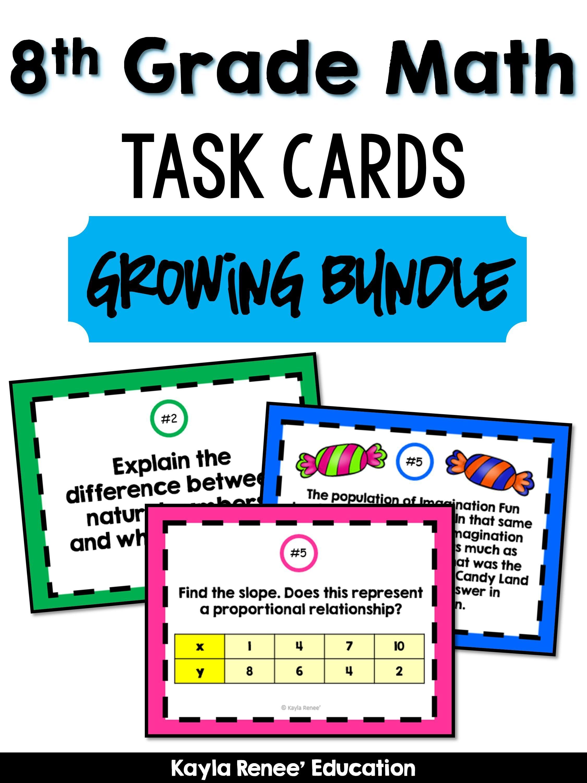 8th Grade Math Task Cards Growing Bundle