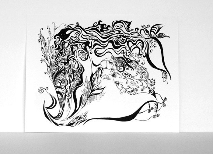 Black and white art print ink pen line drawing size 8x10