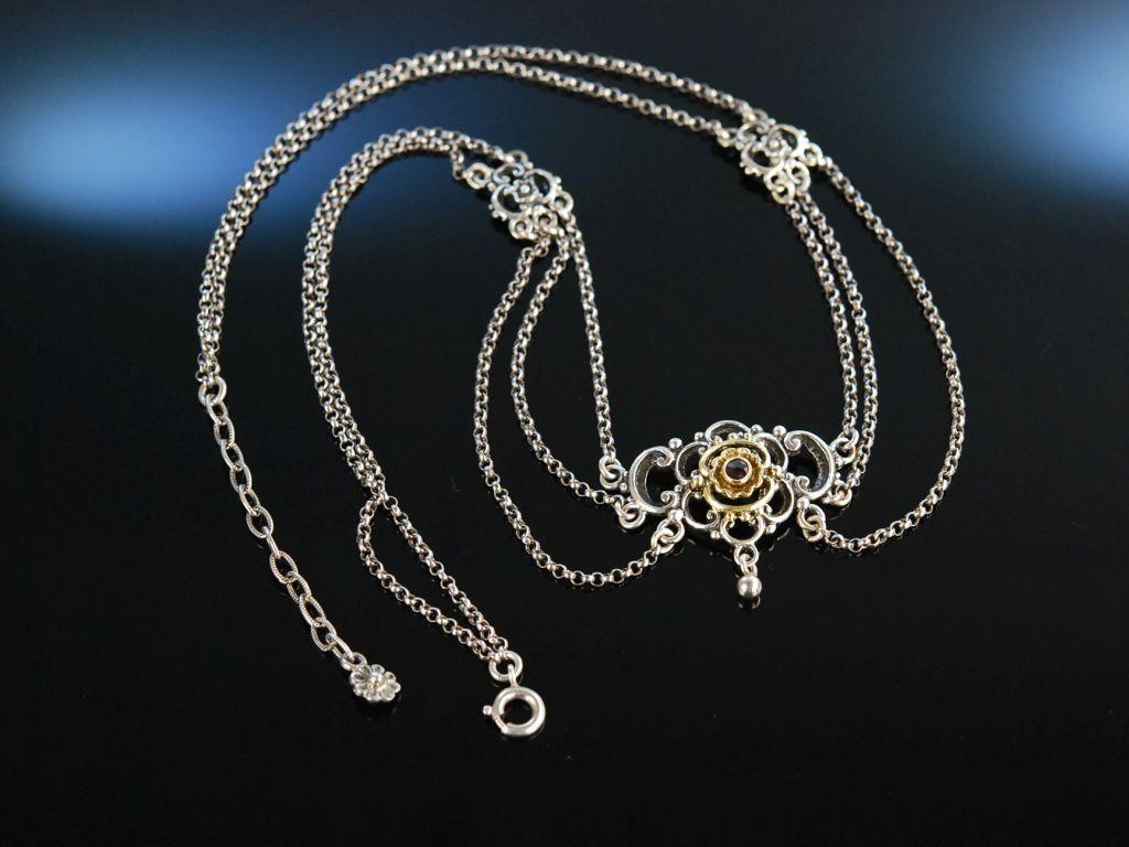 Zu Tracht und Dirndl! Kette Collier Silber teil vergoldet Granat München um 1950, silver garnet necklace, traditioneller Trachenschmuck bie Die Halsbandaffaire