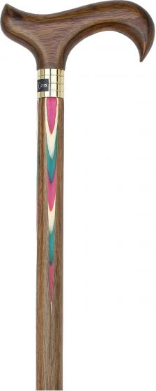 Red & Green Inlaid Derby Walking Cane With Inlaid Ovangkol Shaft and Silver Collar