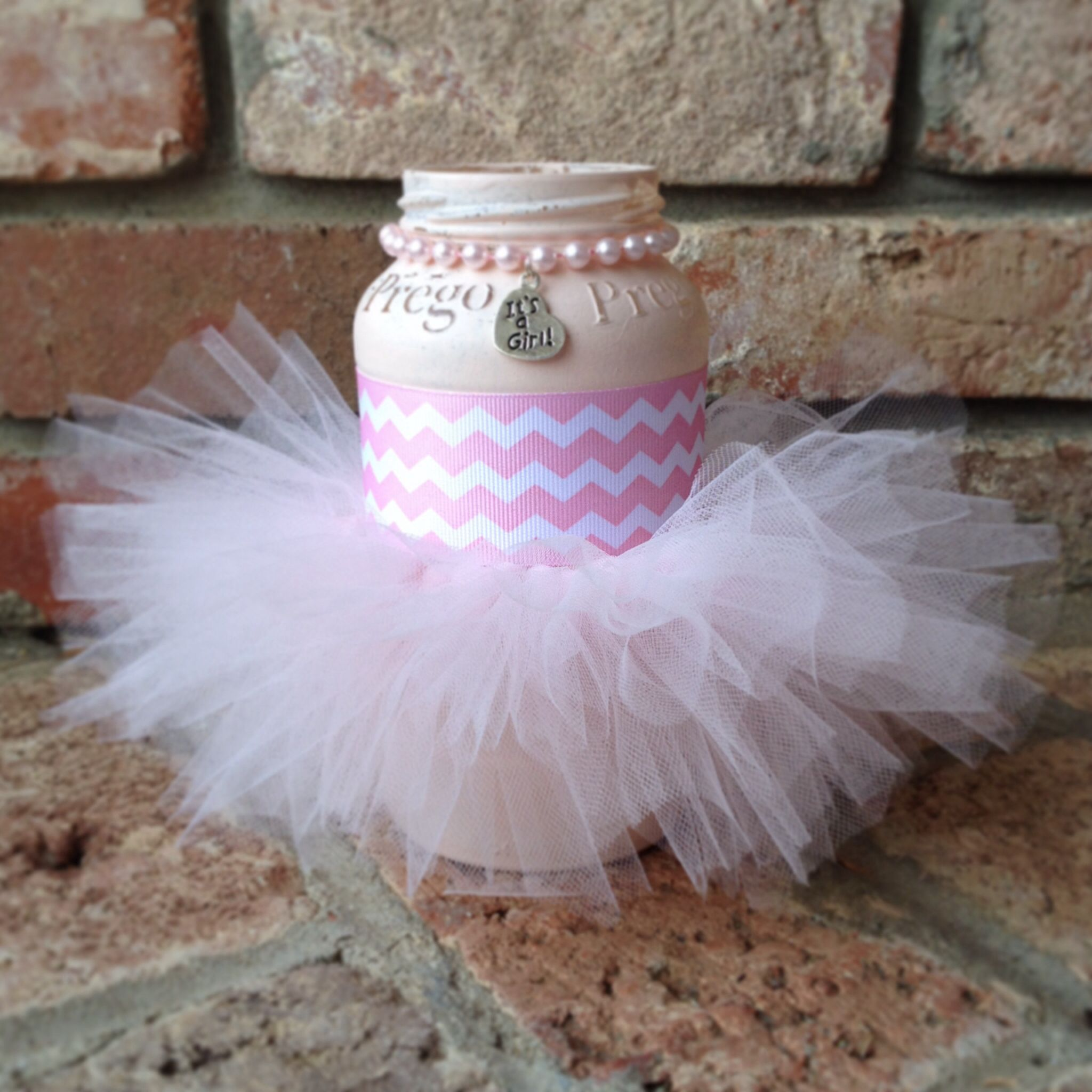 Centerpiece tutu pink elephant prego jars baby shower