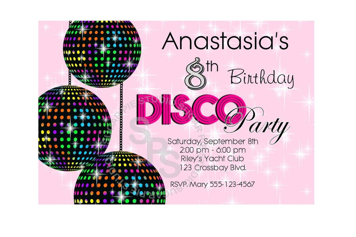 Kids Free Printable Party Invites Disco Party Crafts For Kids - Disco birthday invitation templates free