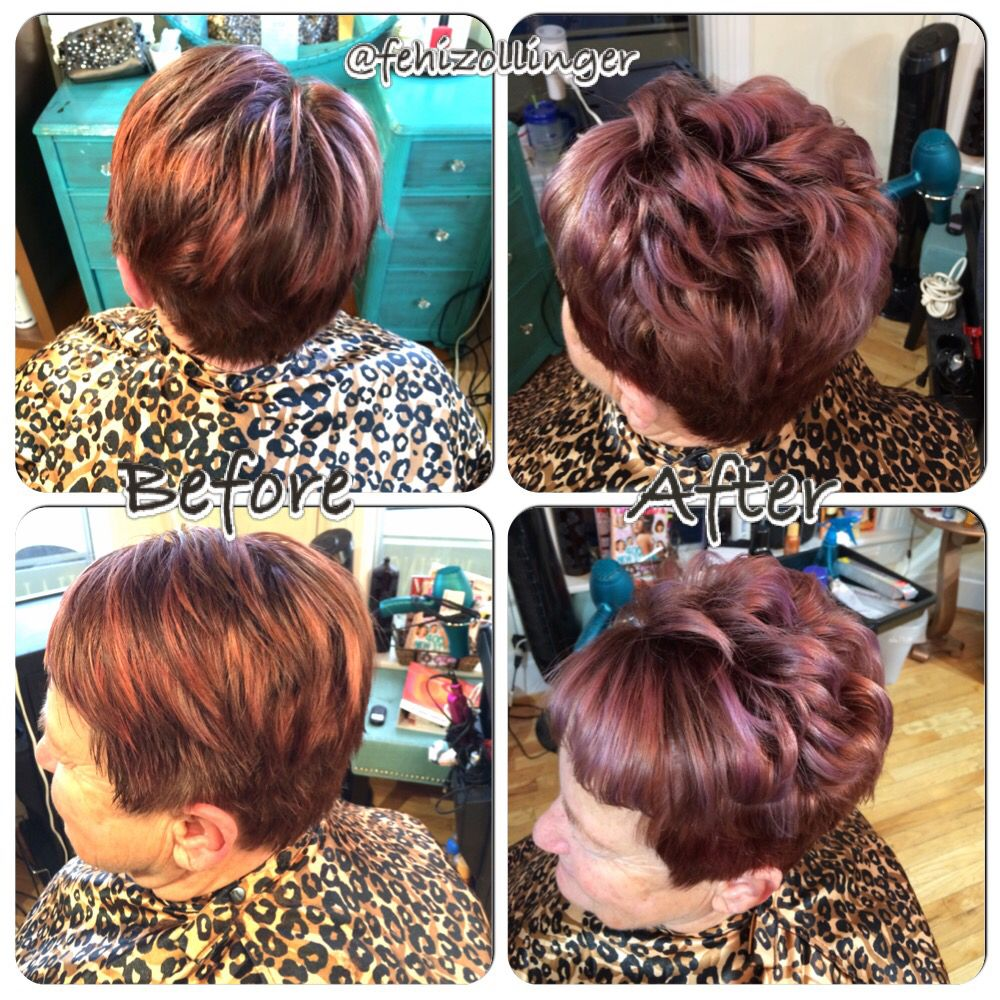 Metallic violet highlights on red violet short hair @fehizollinger