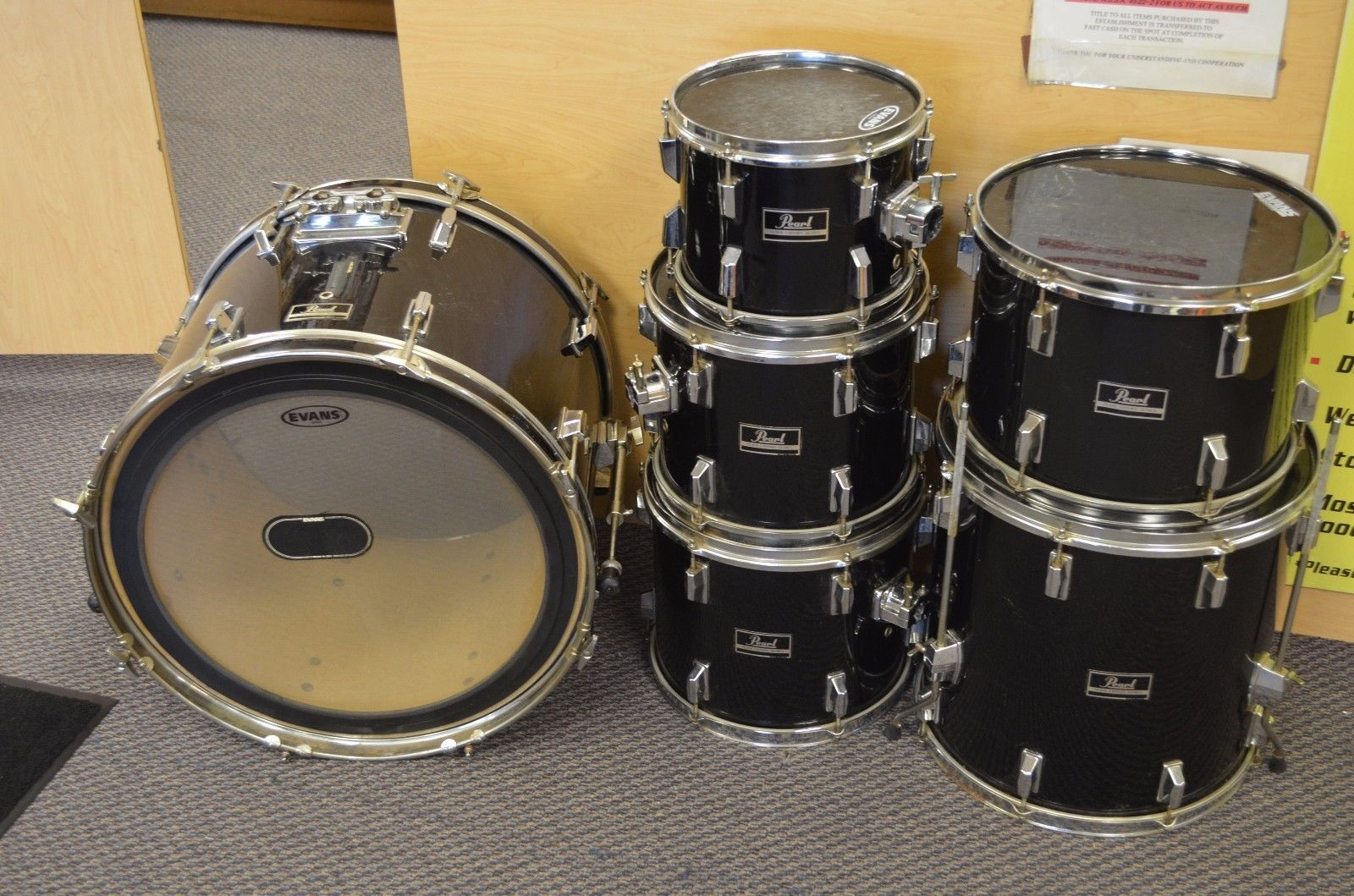 pearl export series black 6 piece drum set bass 5 toms nj local pick up only common. Black Bedroom Furniture Sets. Home Design Ideas