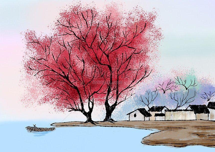 Paling Keren 30 Lukisan Pemandangan Alam Dari Cat Air