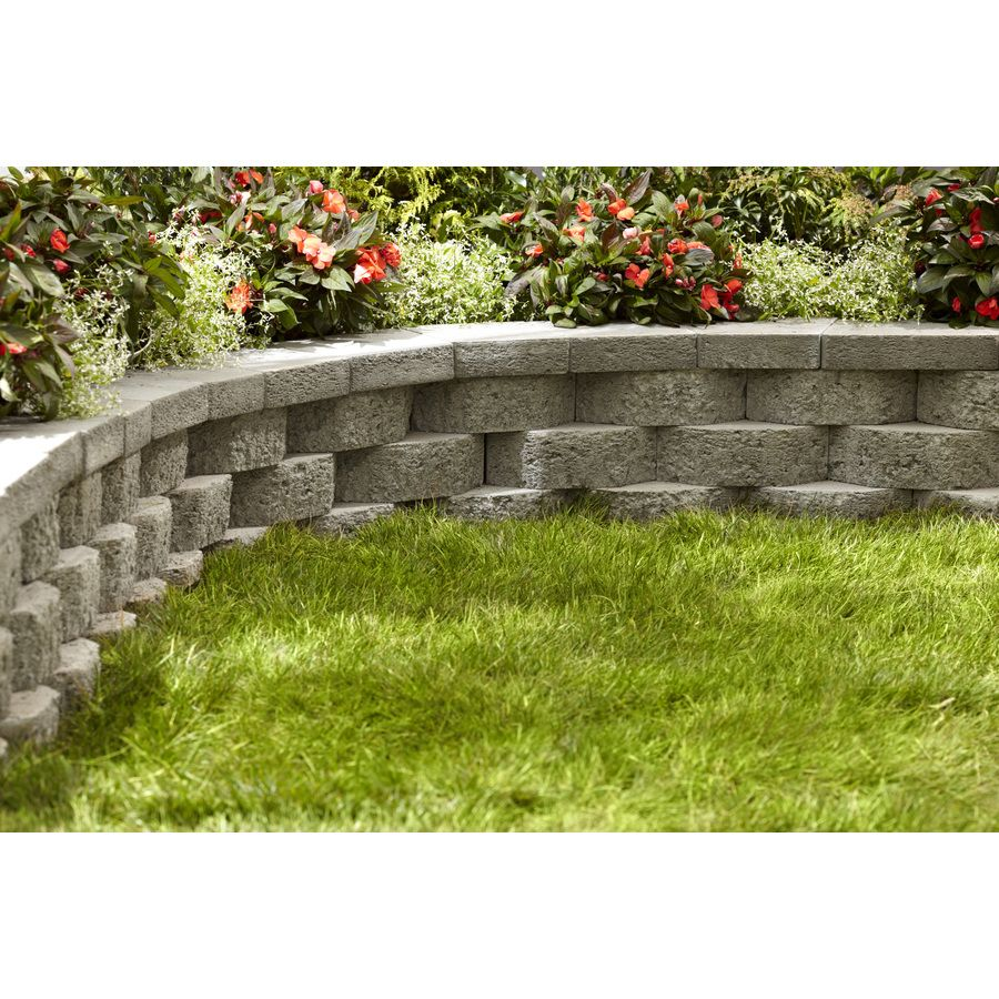 Shop gray basic concrete retaining wall block common 12 for Landscape blocks