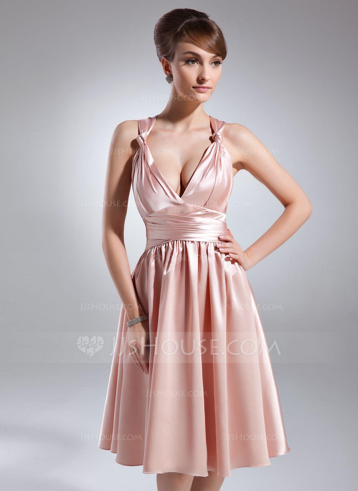 A-Line/Princess V-neck Knee-Length Charmeuse Bridesmaid Dress With ...