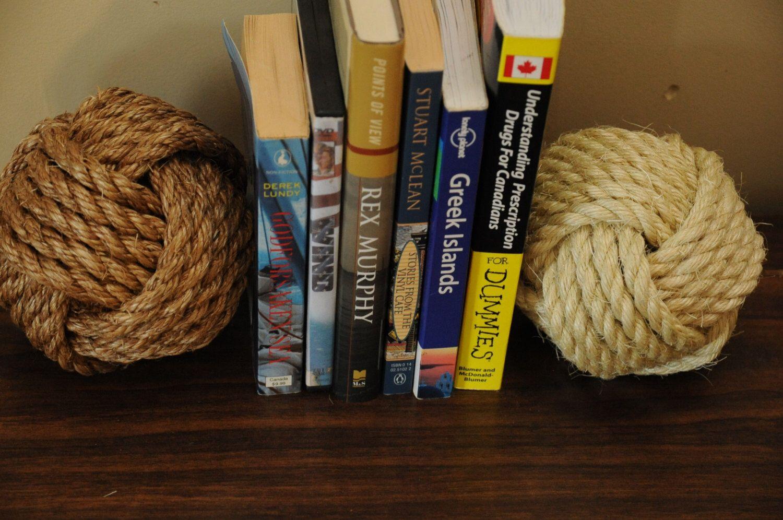 Nautical Decor Large Monkey S Fist Book Ends 5 Inches Etsy Nautical Decor Bookends Nautical Nursery Boy