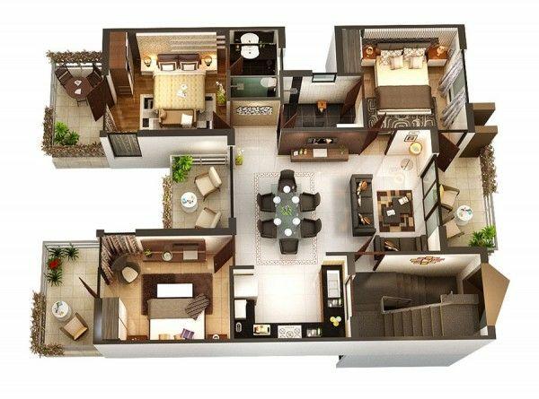 Planos de casas y apartamentos en 3 dimensiones 3d house plans and