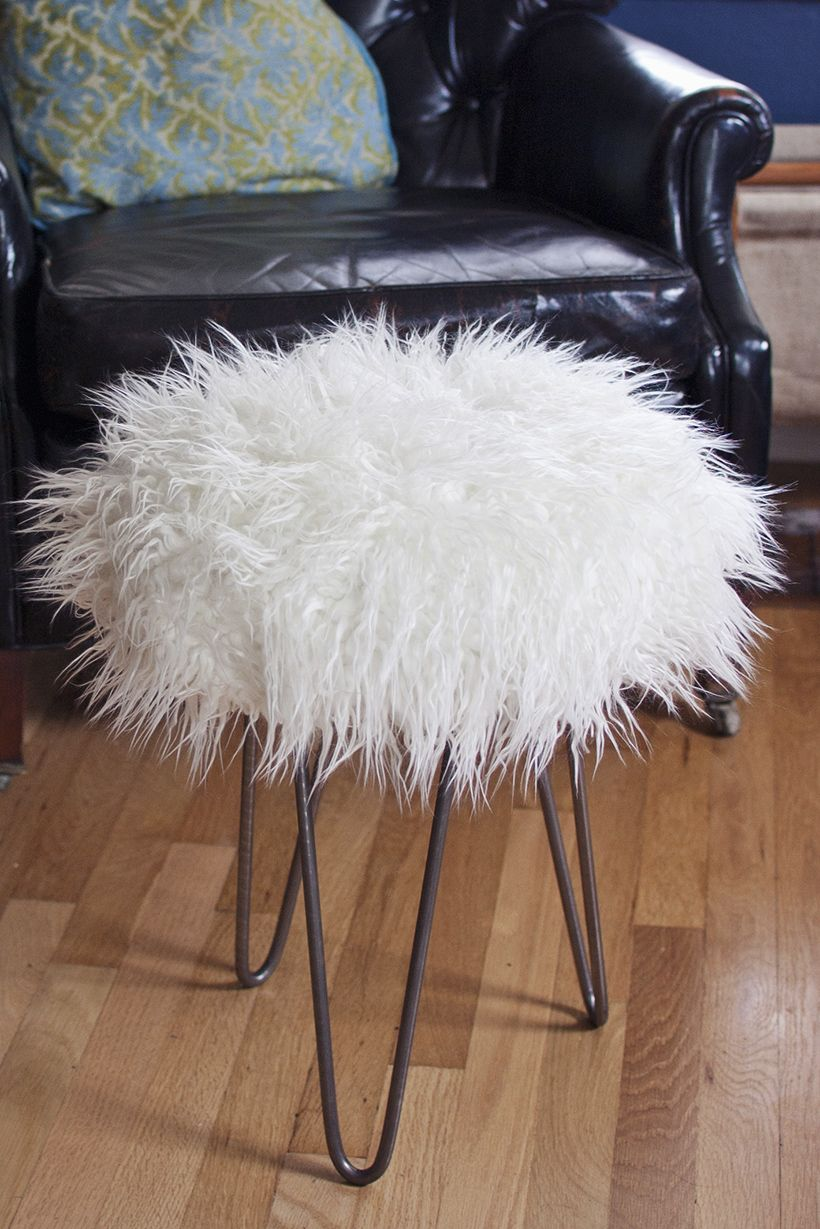 Make A Faux Fur Stool With Hairpin Legs Diy In Pdx Faux Fur
