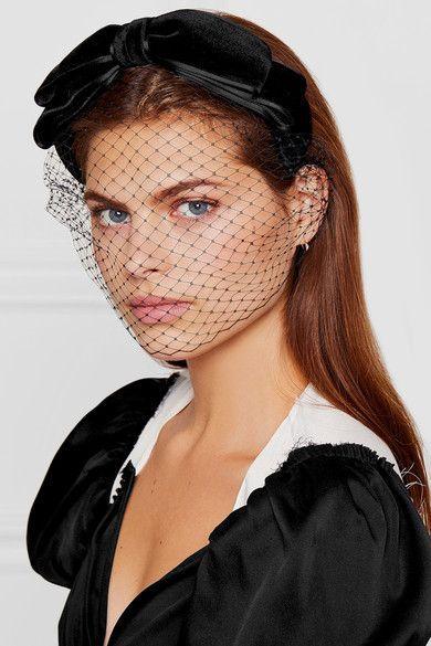 JENNIFER BEHR Bow-embellished velvet veiled headband  d53c6948b29