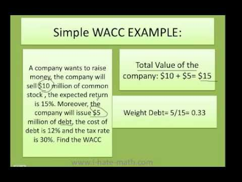 how to calculate WACC (simple example) Weighted Average Cost of