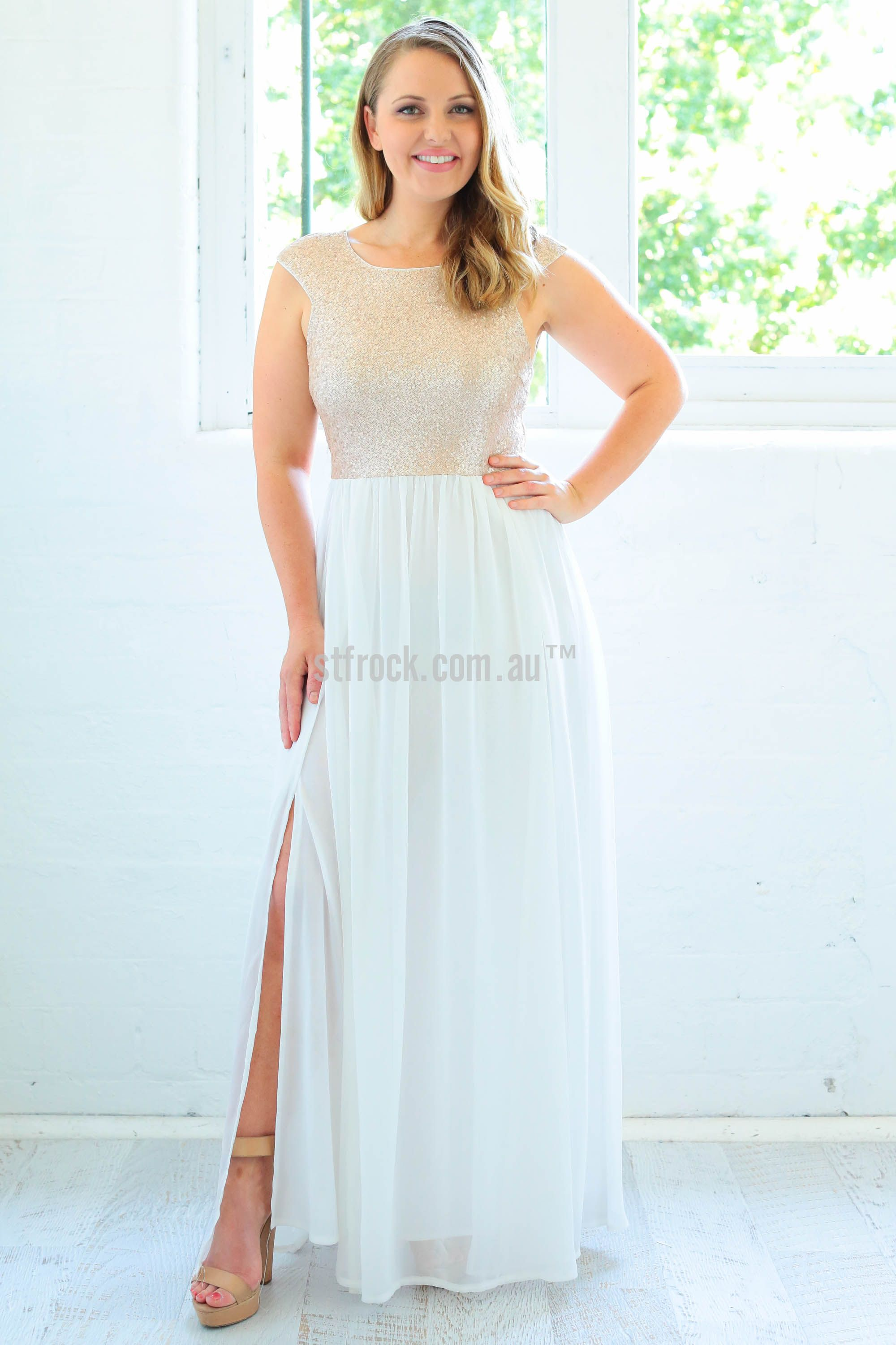 Chasing Kate Verity Sequin Maxi Dress in White $99.90 Chasing Kate ...