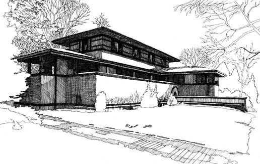Perspective Frank Thomas House Oak Park Illinois 1901