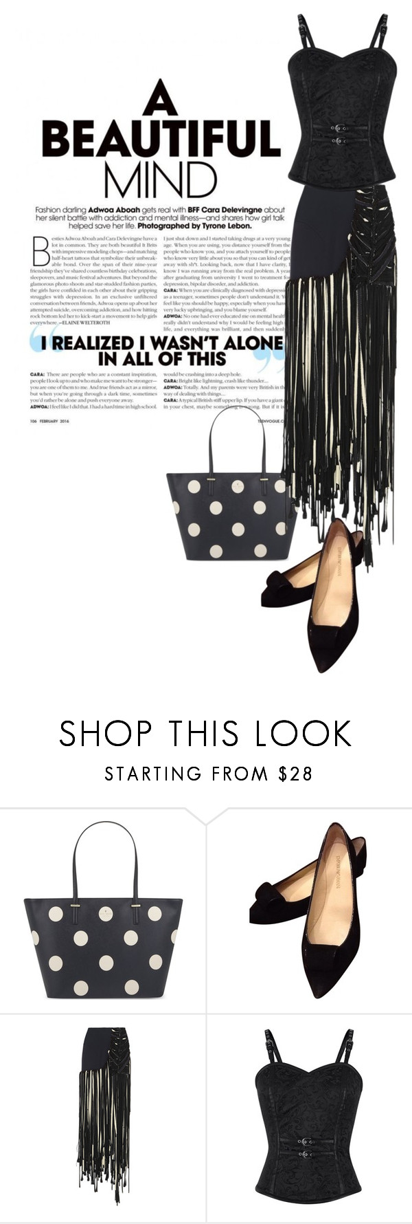 """""""White Polka"""" by meladesigns ❤ liked on Polyvore featuring Kate Spade, Emporio Armani, Esteban Cortazar, polyvoreeditorial, blackbringssexyback and meladesigns"""