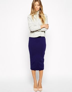 c57ff9ca7 Falda de tubo a media pierna con acabado en punto de ASOS | Skirt ...