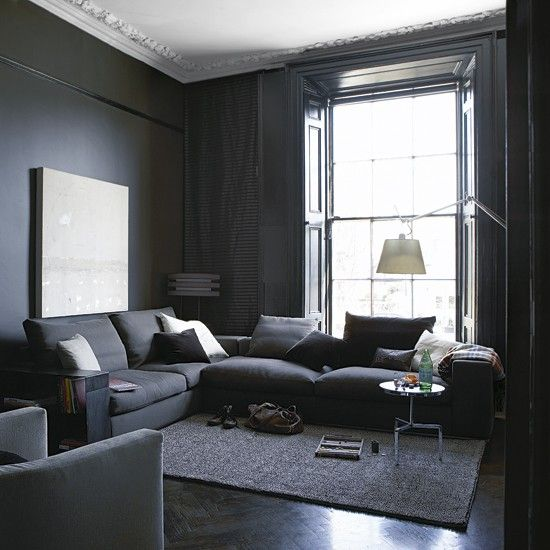 Interior obsessions blackest black grey living rooms for Living room paint ideas with grey furniture