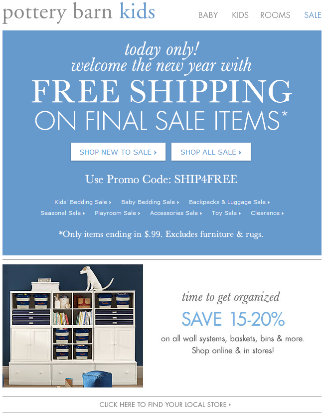 Pottery Barn Kids - one day only free shipping on final sale items ...