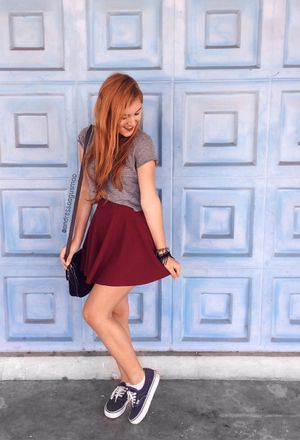 Look by @andressaagusmao with #sneakers #summer #vans #forever21 #skirts #streetstyle #croptops #cropped #bags #oasap #college #tommyhilfiger #sneackers #redhead #blackbags #graytshirts #darkbluesneakers #burgundyskirts #shoppingchic.