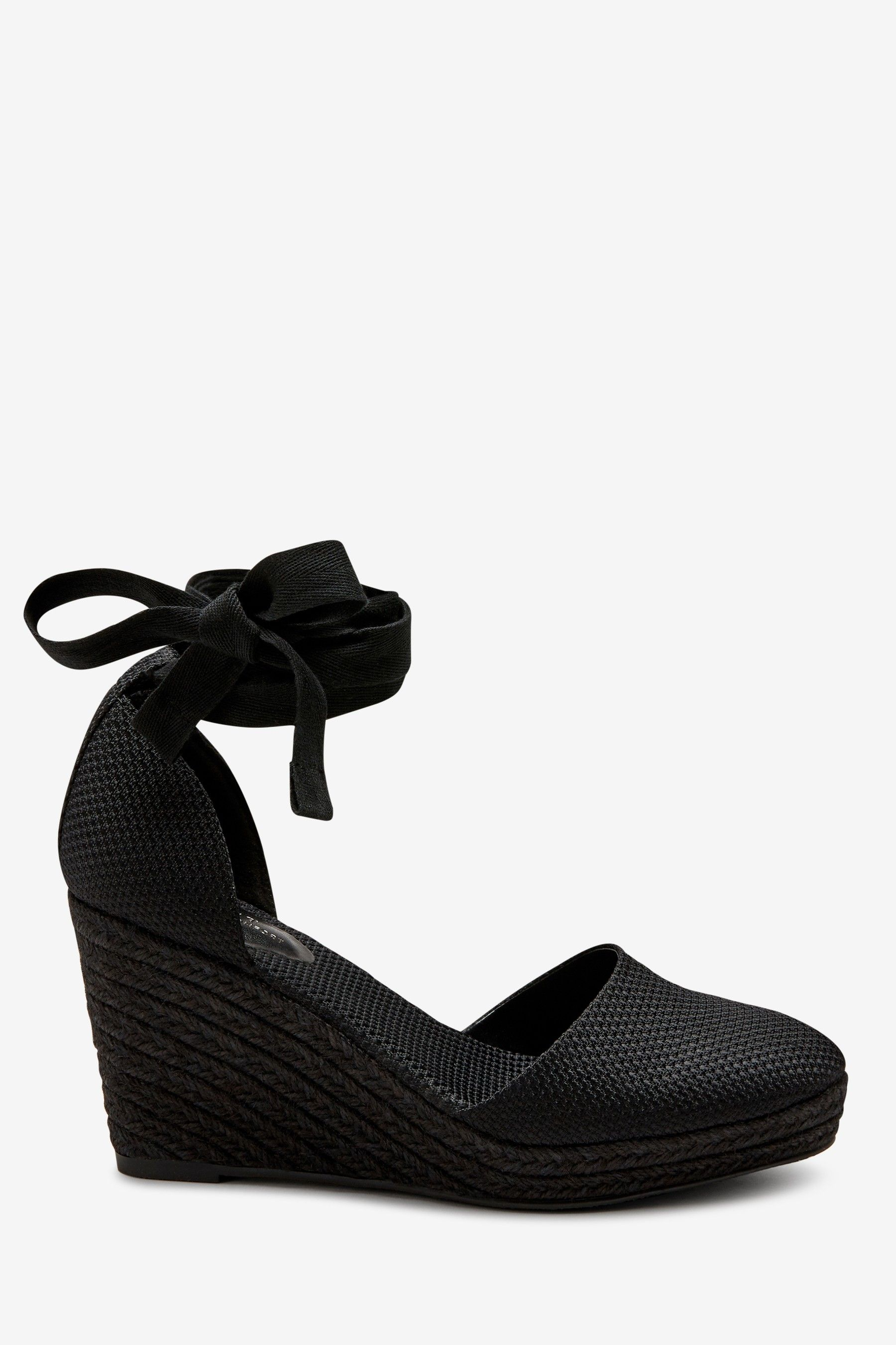 Womens Next Black Wrap Espadrille Wedges Black | Black