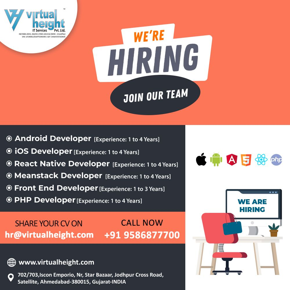 We Re Hiring Join Our Team Web App Developer Ahmedabad Virtual Height In 2020 App Development Job Seeker Hiring Poster