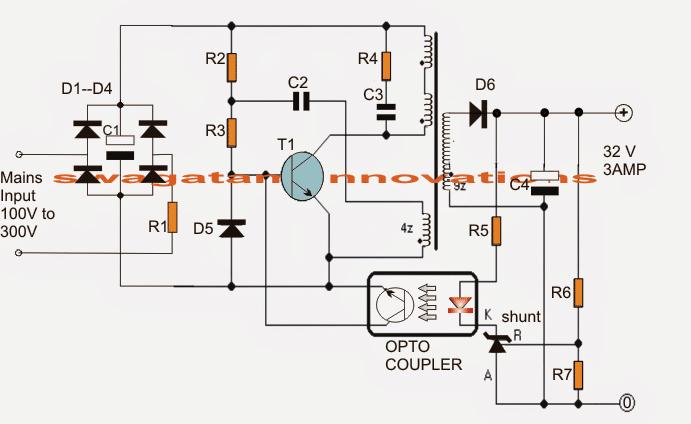 32v  3 amp led driver smps circuit