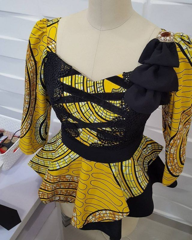 Top Ten Unique Ankara Styles For Beautiful Ladies( Ankara Peplum Top)