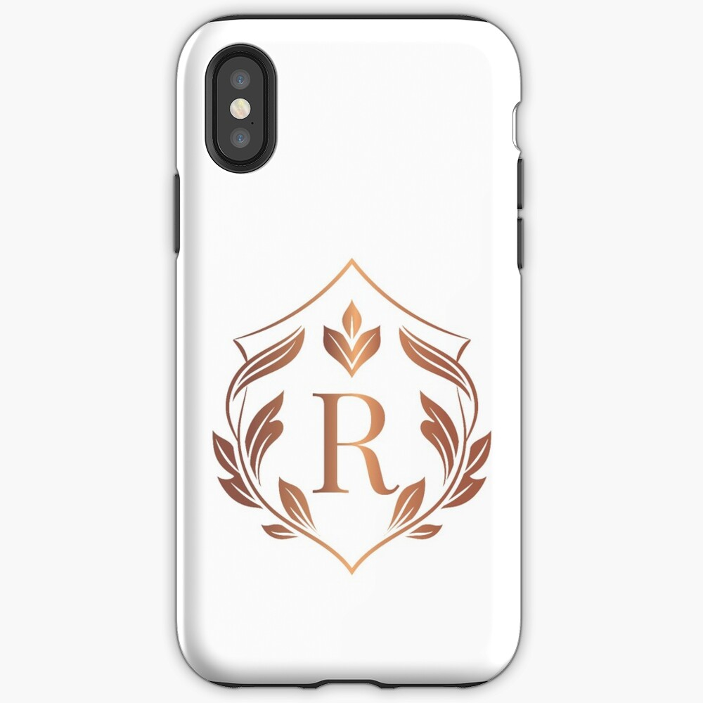 Laurel Shield Monogram Initial Letter R Personalized Design Rose Gold And White Luxury Frame Collection 1 Iphone Case By Annartlab In 2020 Initial Letters Iphone Case Covers Monogram Initials