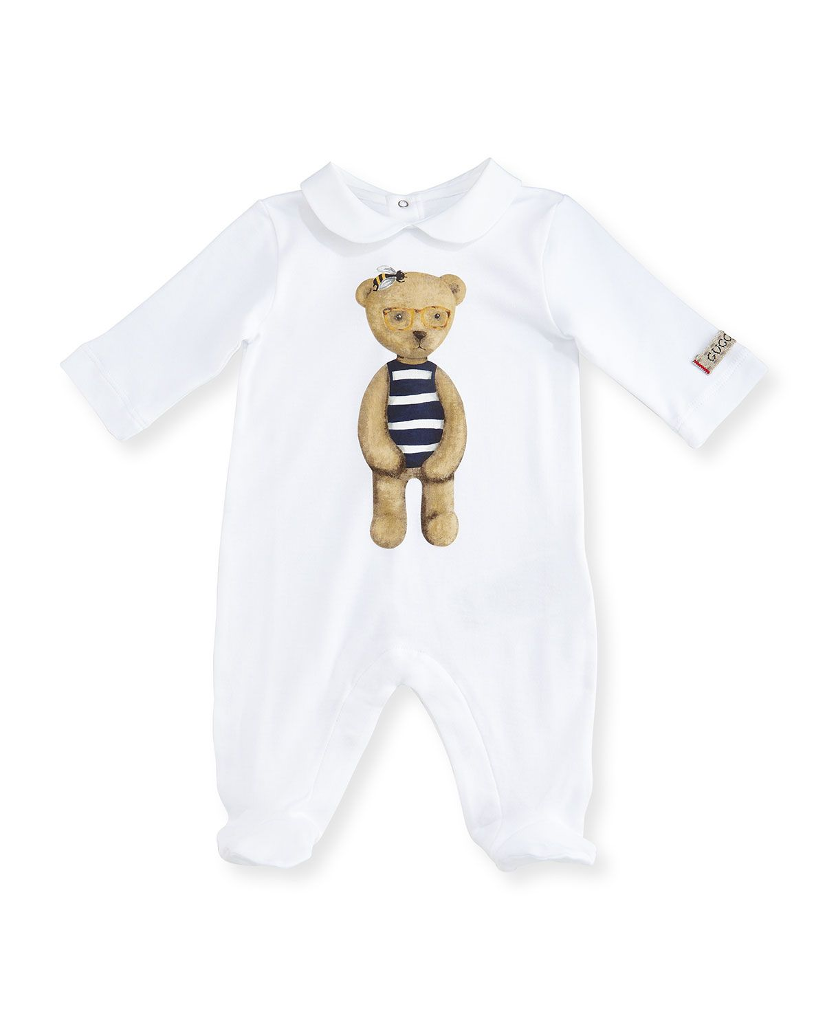 fd3251d70 Gucci Collared Teddy Bear Footie Pajamas, White/Blue, Size 0-12 Months,  Size: 6-9 Months