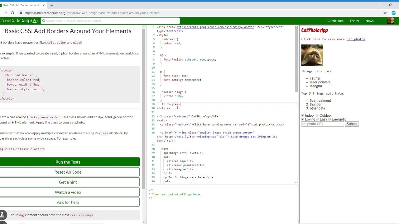 10 44 Basic Css Add Borders Around Your Elements Learn Freecodecamp Coding Camp Css Free Web Design