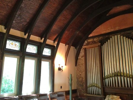 "A private church in a Victorian home.  20' ceilings, an organ, stained glass... the current owners use it for ""storage."""