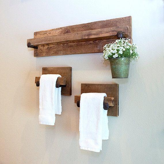 Hand towel holder rustic towel rack with industrial - Toalleros de madera para bano ...