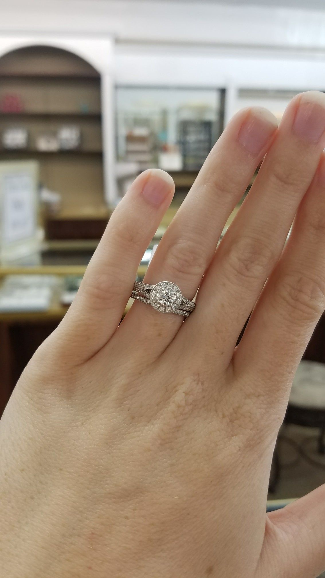 100 00687 Ladies 1 Carat Diamond Total Weight Wedding Set Round With Halo And Fancy Setting Engagement Rings Wedding Sets 1 Carat
