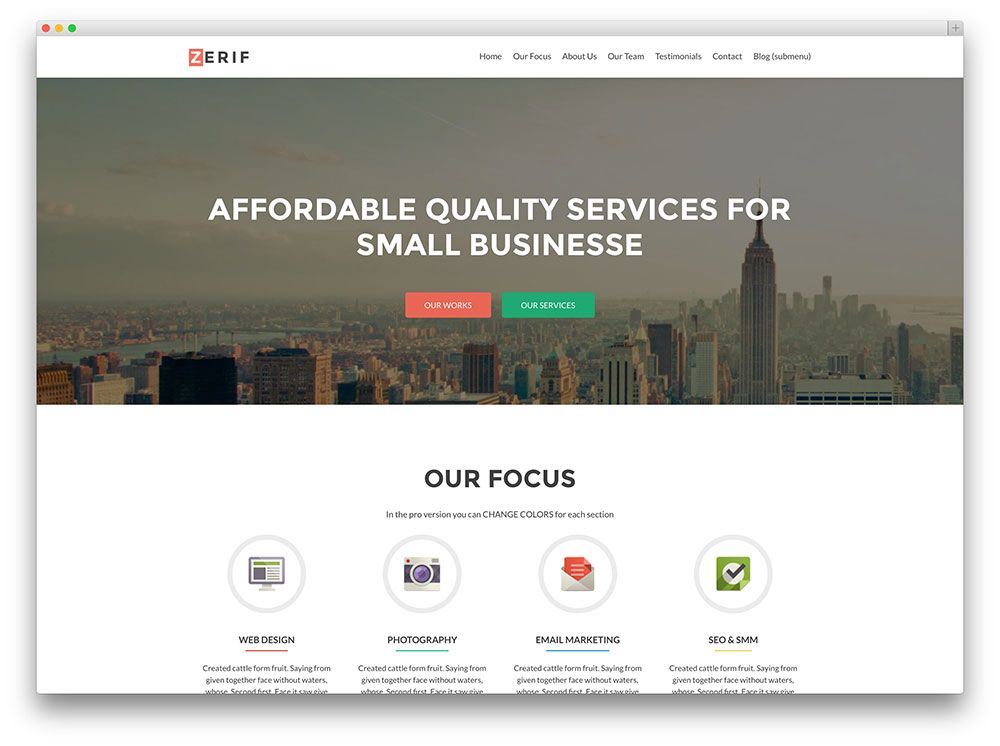 Zerif lite corporate theme business stuff pinterest beautiful free responsive wordpress themes to build awesome websites 2015 flashek Images